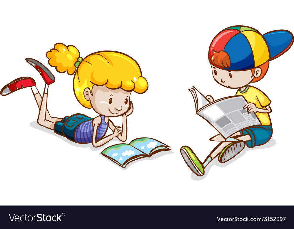 A girl and a boy reading vector | Price: 1 Credit (USD $1)