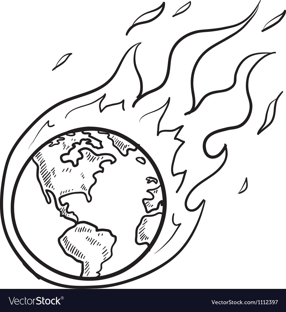 Doodle globe warming fire vector | Price: 1 Credit (USD $1)