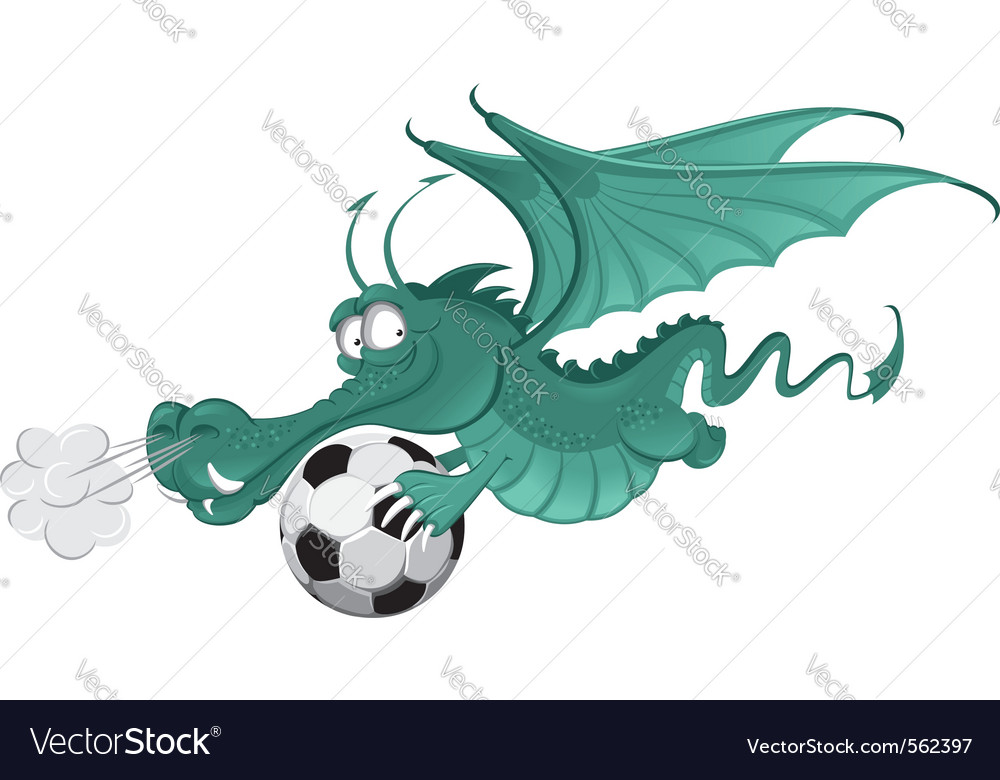 Dragon and soccer ball vector | Price: 3 Credit (USD $3)