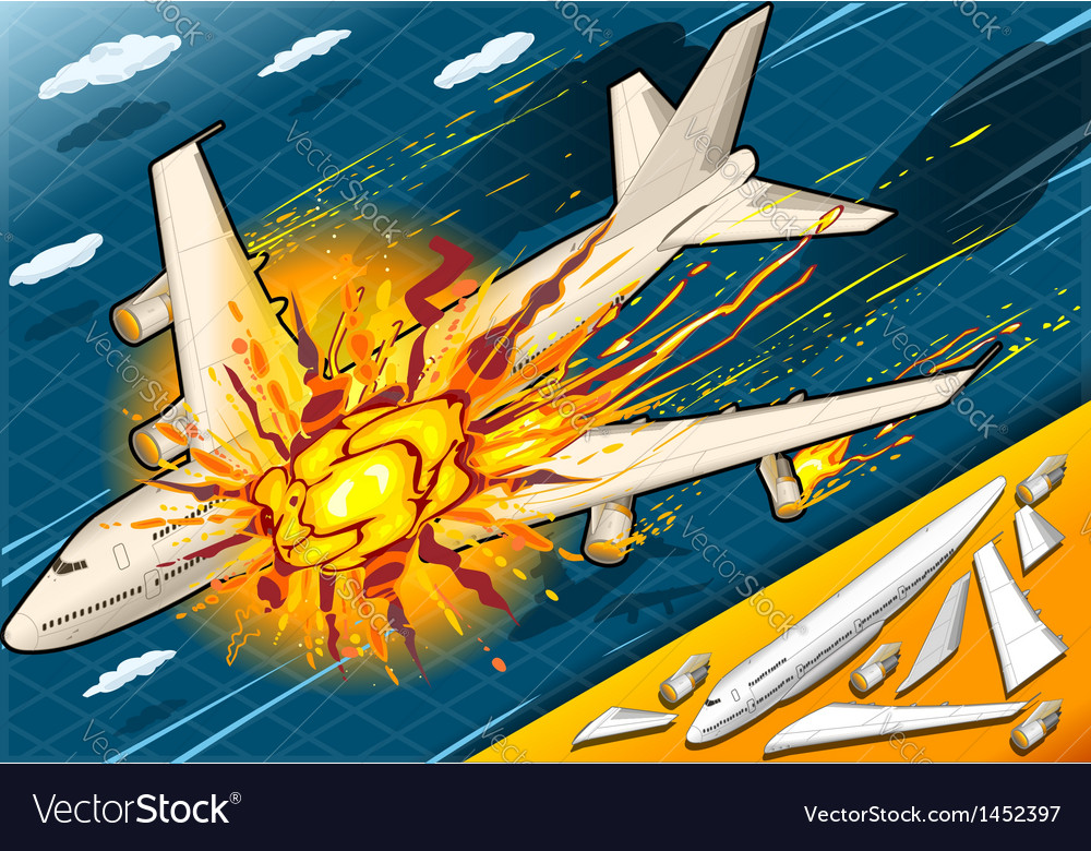 Isometric explosion of airplane falling down vector | Price: 1 Credit (USD $1)