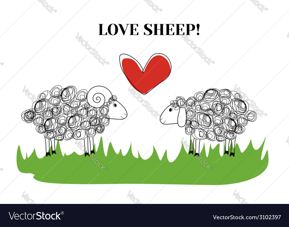 Love sheep vector | Price: 1 Credit (USD $1)
