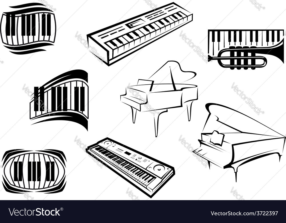 Outline sketch piano music icons vector | Price: 1 Credit (USD $1)