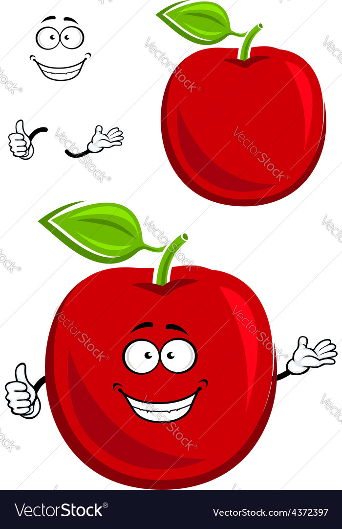 Red apple fruit character showing thumb up vector | Price: 1 Credit (USD $1)