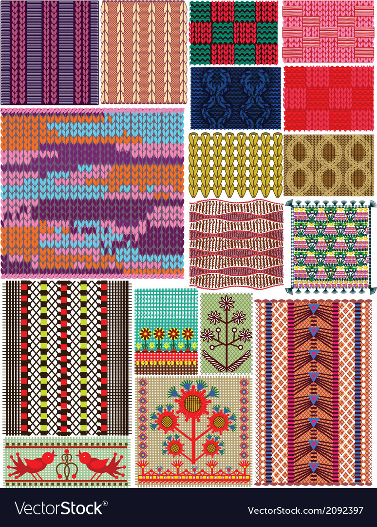 Set crocheted backgrounds traditional style vector | Price: 1 Credit (USD $1)