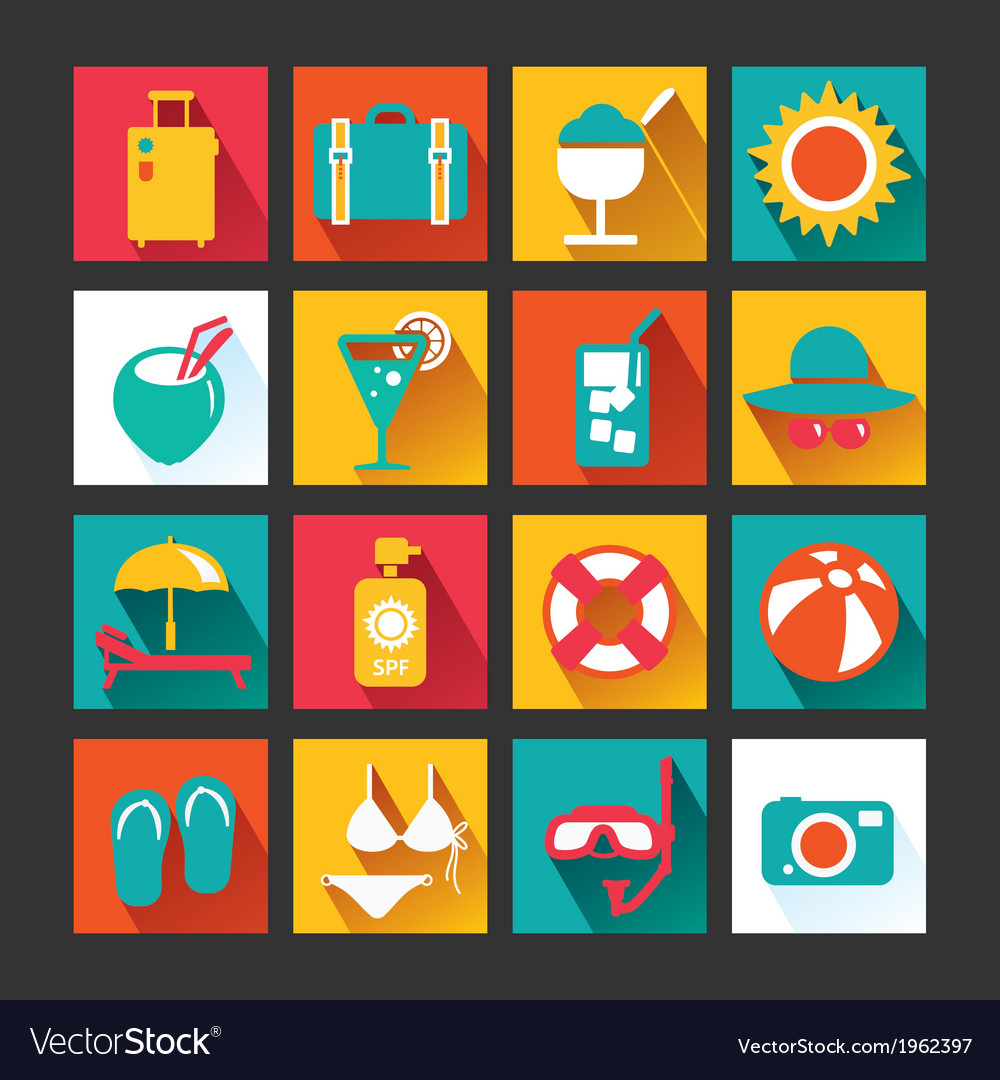 Summer icons set design icons for web vector | Price: 1 Credit (USD $1)