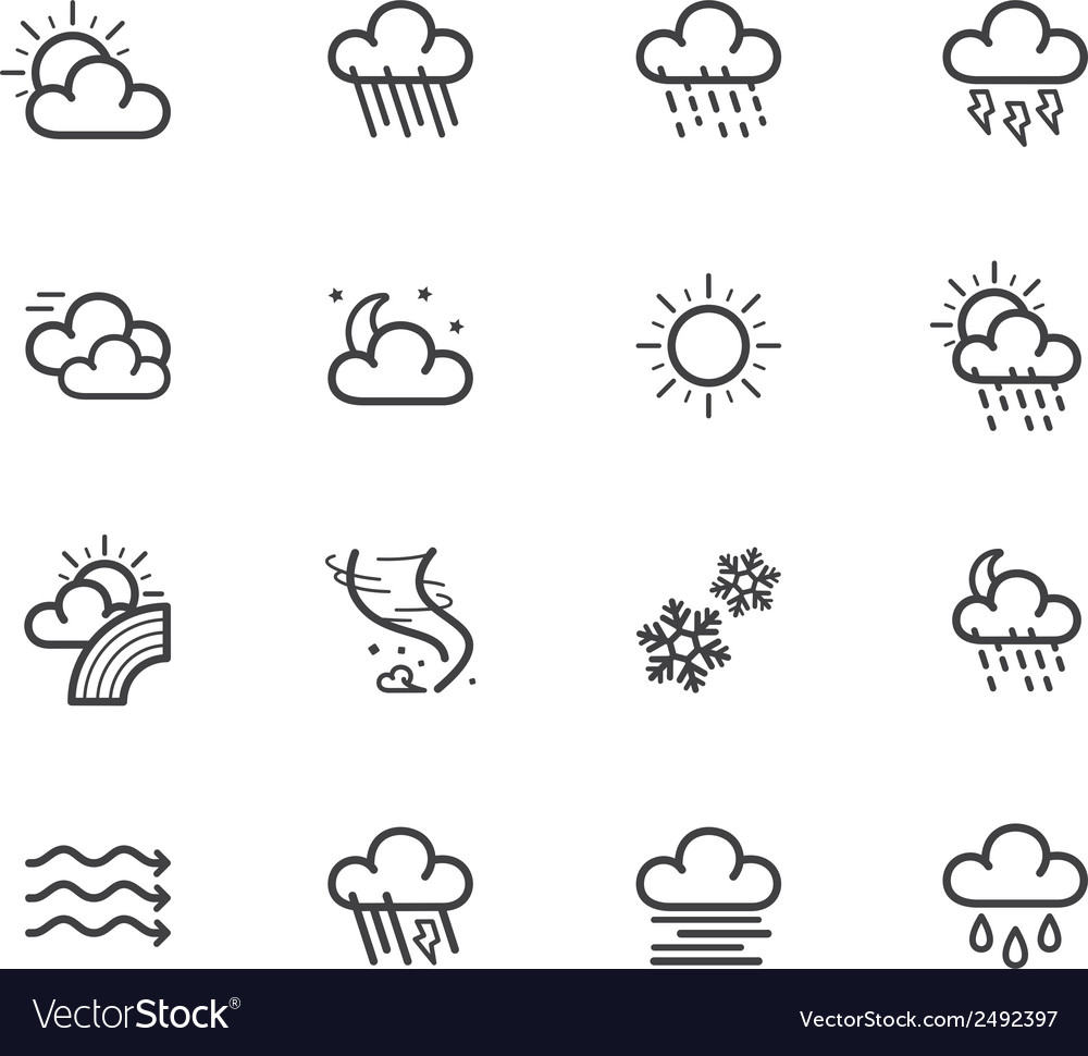 Weather element black icon set on white bg vector | Price: 1 Credit (USD $1)