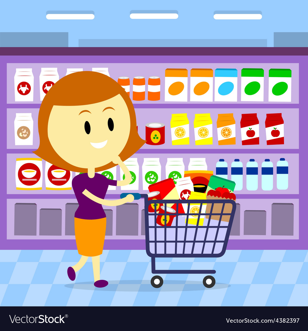 Woman grocery shopping vector | Price: 3 Credit (USD $3)