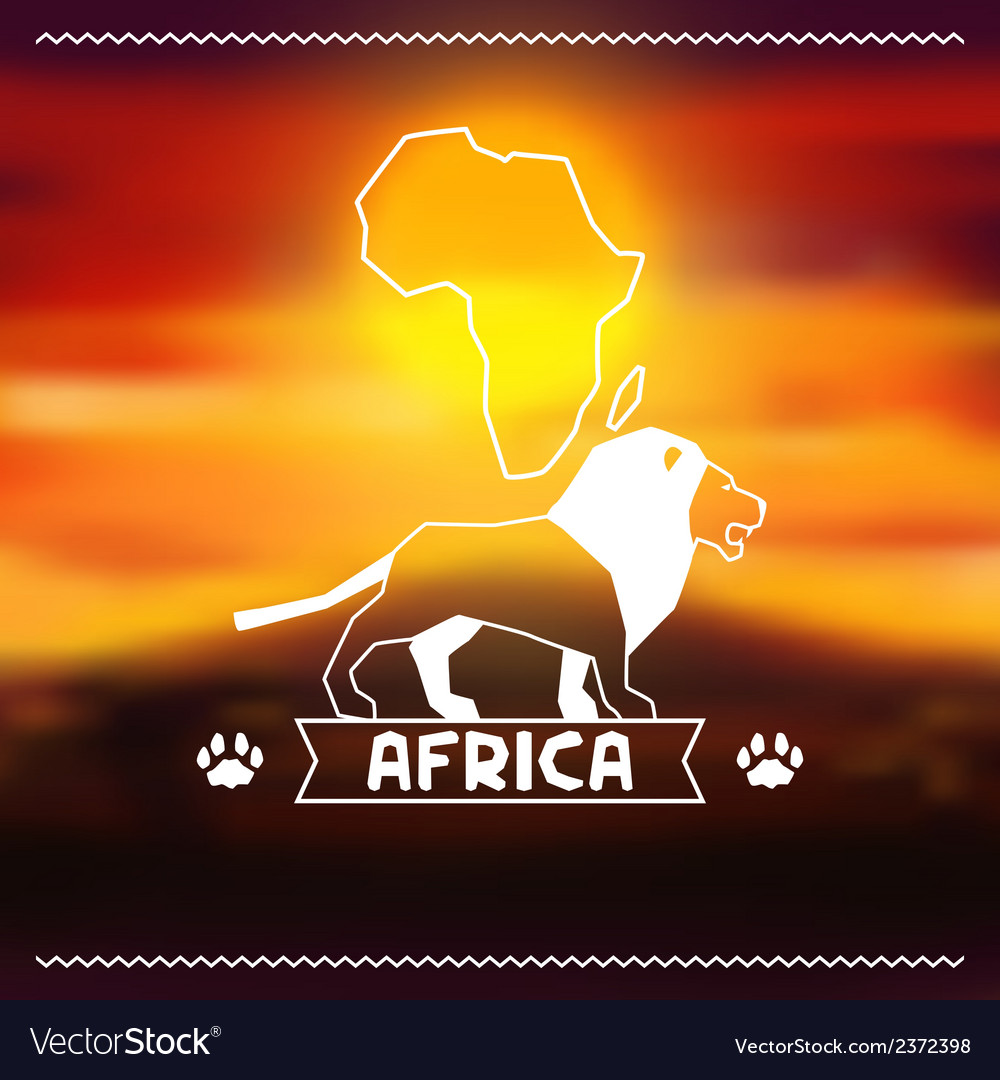 African ethnic background on evening savanna vector | Price: 1 Credit (USD $1)