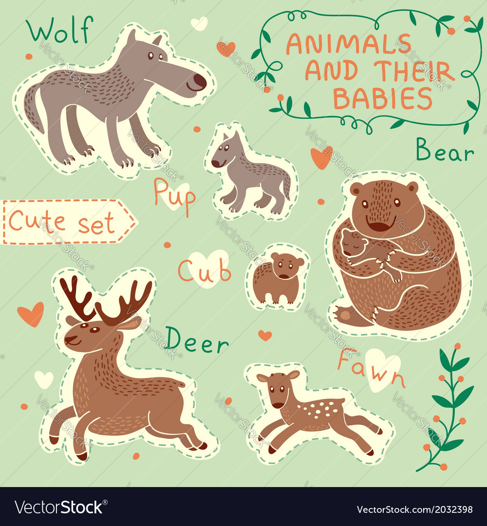 Baby and mommy animal set vector | Price: 1 Credit (USD $1)