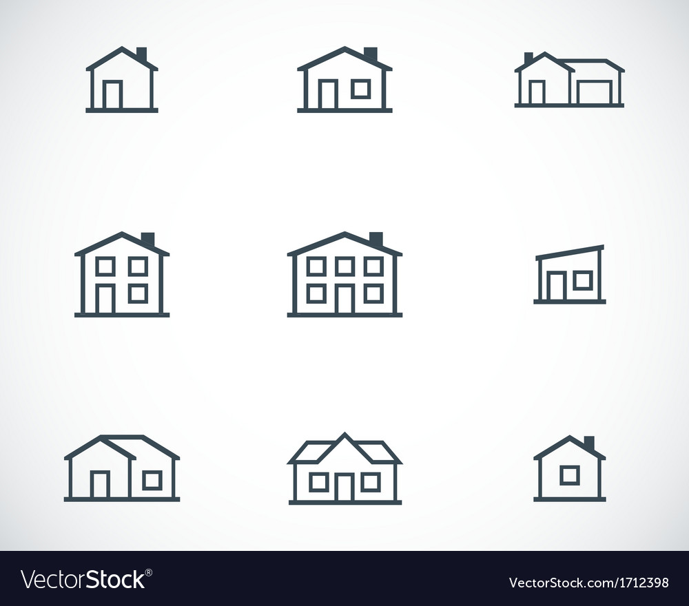 Black houses icons set vector | Price: 1 Credit (USD $1)