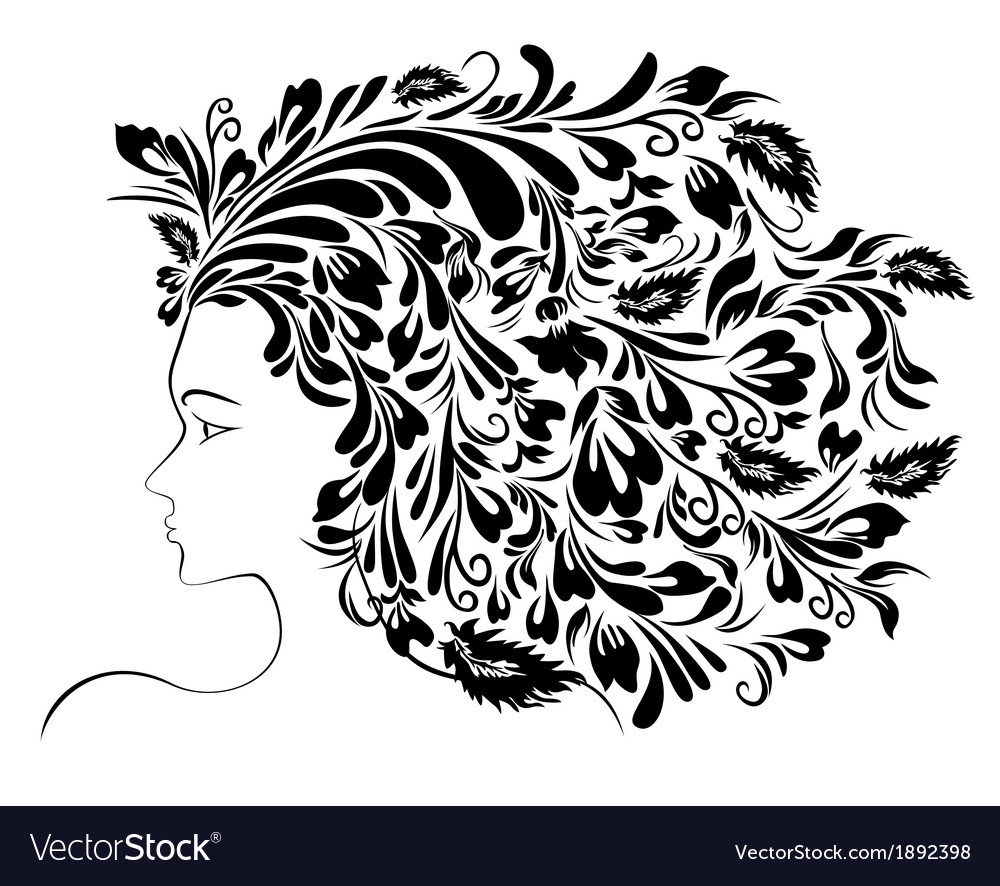 Girl floral hairstyle vector | Price: 1 Credit (USD $1)