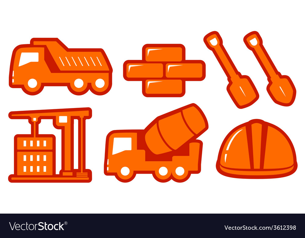 Isolated construction yellow objects vector   Price: 1 Credit (USD $1)