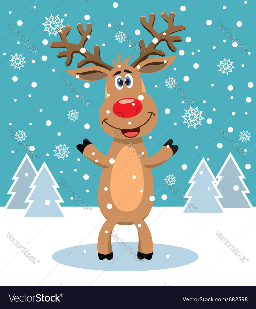 Red nosed reindeer vector | Price: 1 Credit (USD $1)