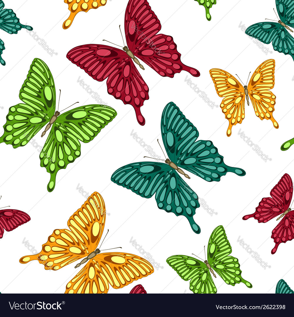 Seamless background bright colorful butterflies vector | Price: 1 Credit (USD $1)