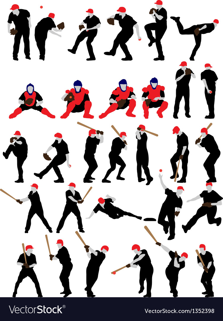 Set of detail baseball athlete silhouettes vector | Price: 1 Credit (USD $1)