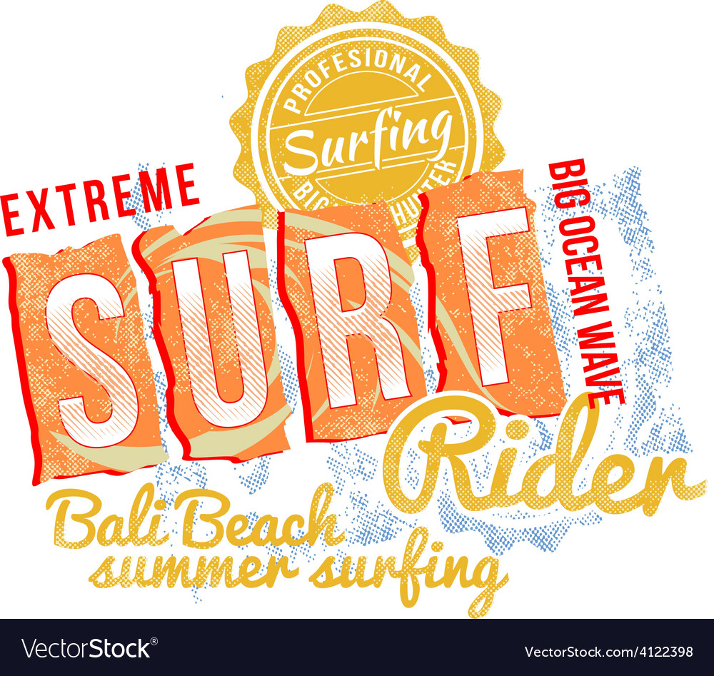 Surf rider text design vector | Price: 1 Credit (USD $1)