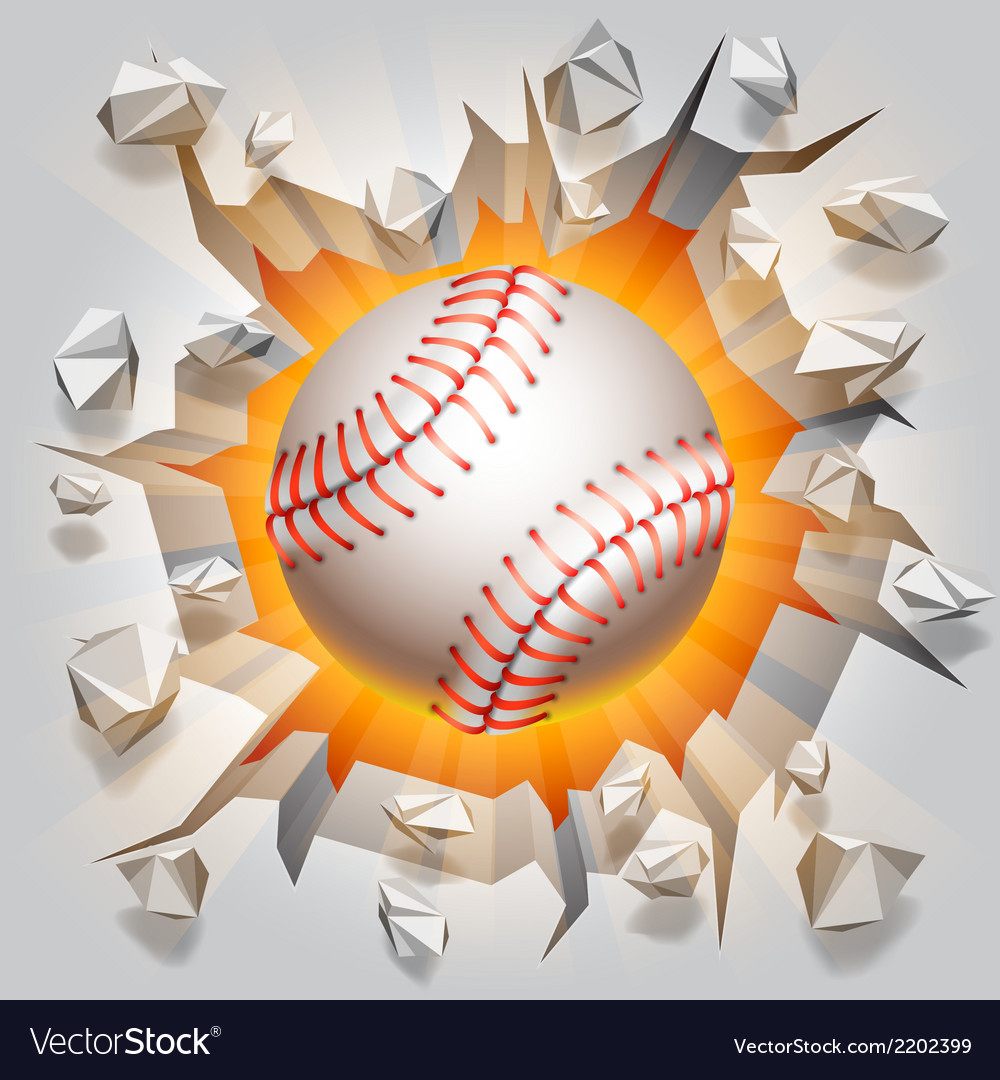 Baseball ball and cracked wall vector | Price: 1 Credit (USD $1)