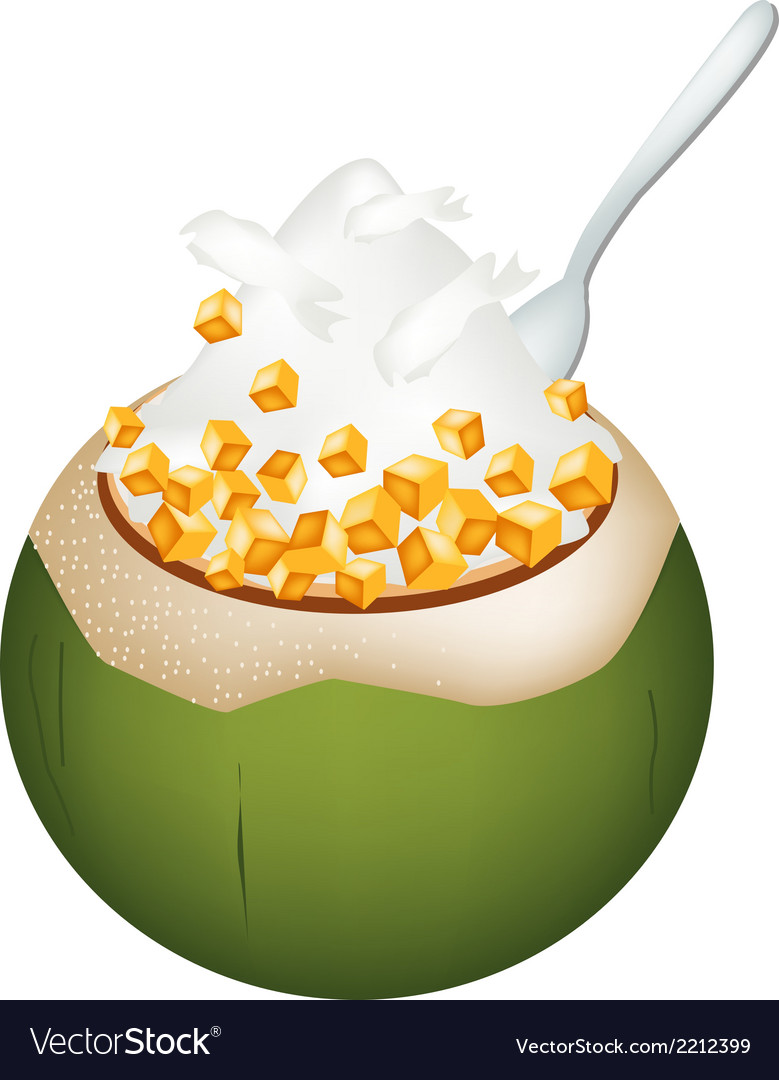 Coconut ice cream with nuts and potatoes vector | Price: 1 Credit (USD $1)