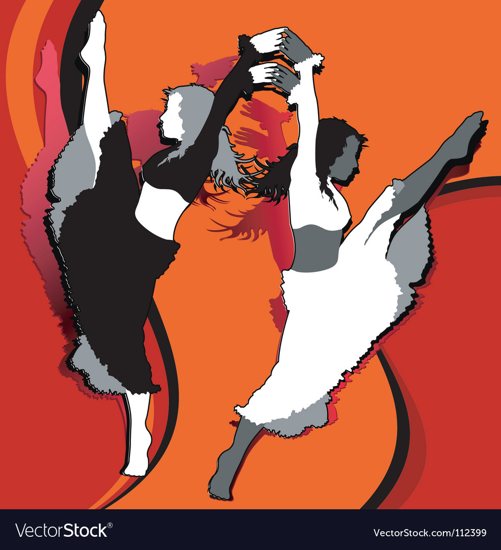 Dancing girls in red vector | Price: 1 Credit (USD $1)