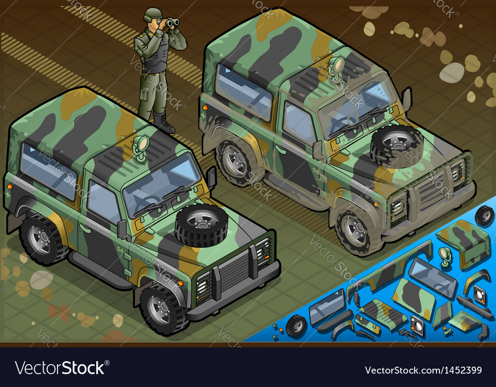 Isometric military jeep with soldier in front view vector | Price: 1 Credit (USD $1)
