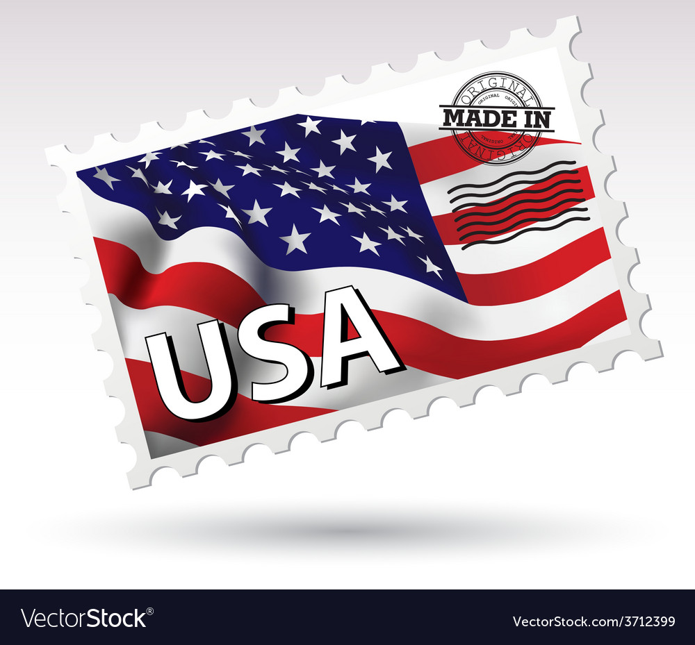 Postmark made in usa flag vector | Price: 1 Credit (USD $1)