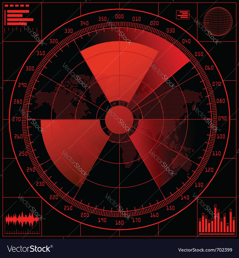 Radar screen with radioactive sign vector | Price: 1 Credit (USD $1)