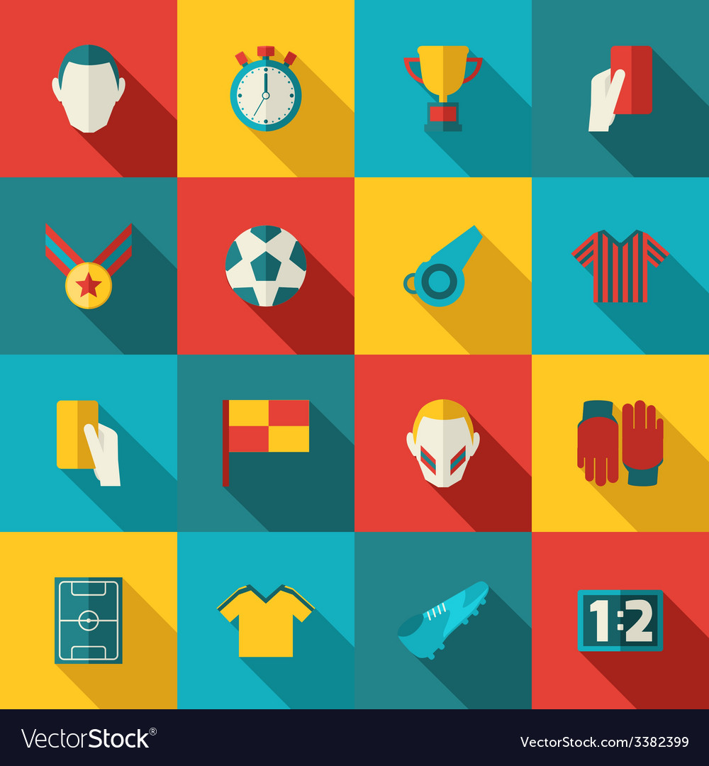 Soccer icons flat vector | Price: 1 Credit (USD $1)