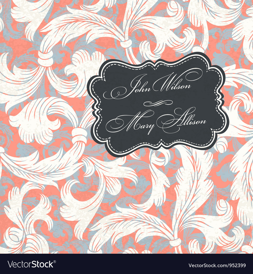 Vintage styled wedding invitation vector | Price: 1 Credit (USD $1)
