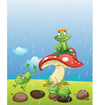 Frogs playing in the rain vector