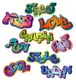 Graffiti words set vector