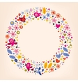 Flowers hearts birds love nature circle retro vector
