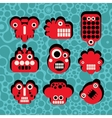 Cartoon robots and monsters faces vector