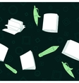 School notes seamless pattern on dark green vector
