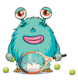 A monster playing tennis vector