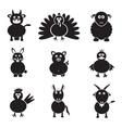 Farm animals simple icons set eps10 vector