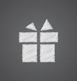 Gift sketch logo doodle icon vector