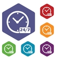 New clock rhombus icons vector