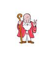 Bearded old man staff peace sign cartoon vector