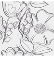 Seamless texture of meadow flowers black contour vector