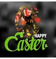 Happy easter typographical background with ornate vector