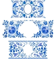 Russian ornaments art frames in gzhel style vector