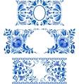 Russian ornaments art frames in gzhel style vector