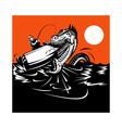 Fisherman fishing and sea serpent vector