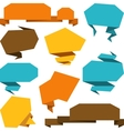 Set of abstract origami speech bubble background vector