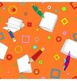 School notes seamless pattern on orange background vector