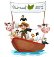 A farmer on a boat with his animals vector