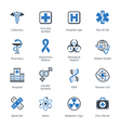 Medical and health care icons set 1 - blue series vector