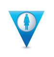 Woman icon map pointer blue vector