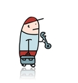 Mechanic with wrench and suitcase for instruments vector