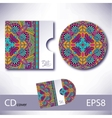 Cd cover design template with ukrainian ethnic vector
